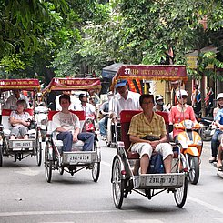 Hanoi Cyclo in Old Quarter Vietnam Indochina