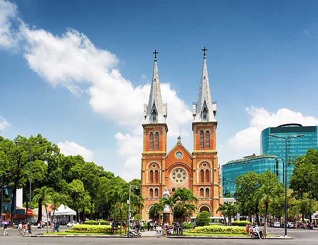 Notre Dame Kathedrale in Ho Chi Minh City Saigon Vietnam Indochina